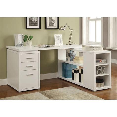 coaster yvette l shaped computer desk in white 800516ii