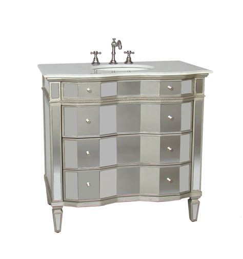 Adelina 36 inch Mirrored Bathroom Vanity, White Carrara
