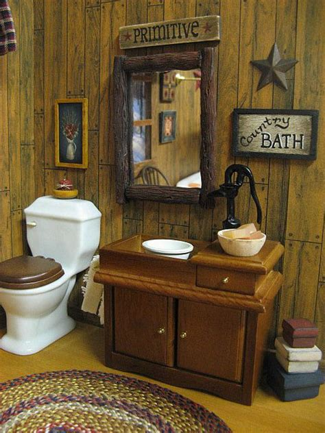 dollhouse country bath primitive by miniaturecabindecor4