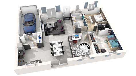 plan maison 3d 3 chambres maison moderne