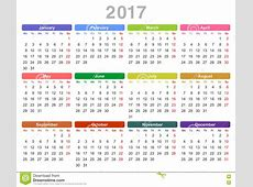 2017 Year Annual Calendar Monday First, English Stock