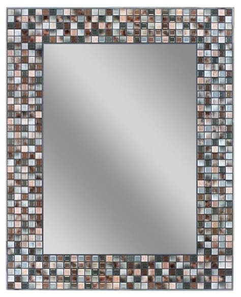 deco mirror mirrors 30 in l x 24 in w earthtone copper bronze mosaic tile contemporary