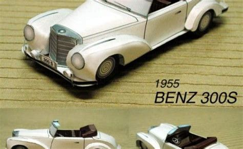 1955 Mercedes-benz Type 300s Paper Car Free Vehicle Paper