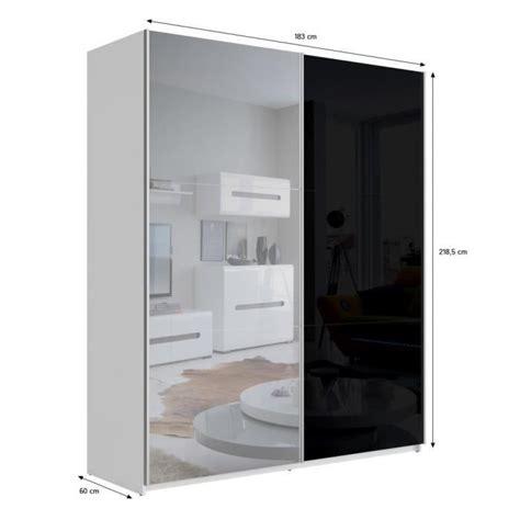 best armoire 180 cm noir brillant miroir achat vente armoire de chambre pas cher couleur