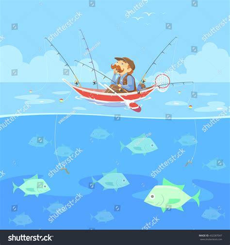 Cartoon Man In A Boat by Cartoon Man No Fishing Boat Vector Stock Vector 432287047