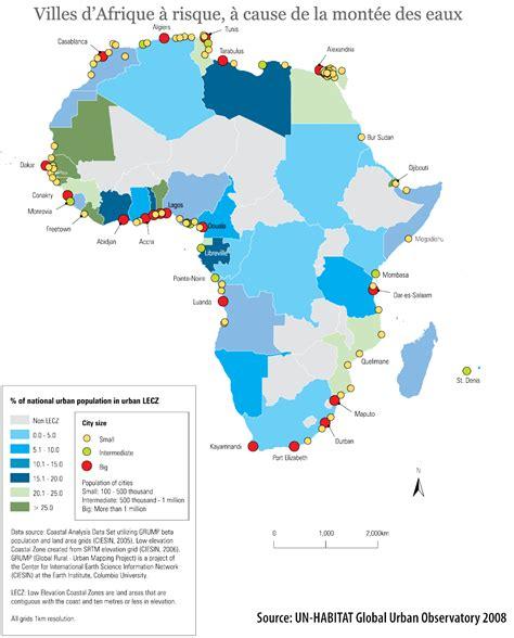 afrique villes 224 risque 224 la mont 233 e des eaux carte populationdata net