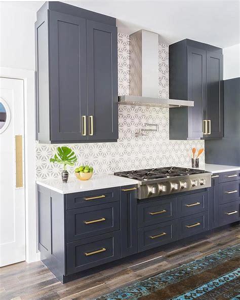 Navy Blue Cabinets, Stone Textiles Kitchen Kitchen