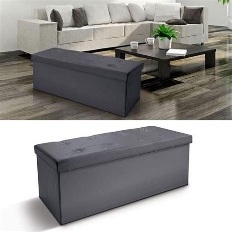 banc coffre rangement pvc gris 100x38x38 cm pliable meubles et am 233