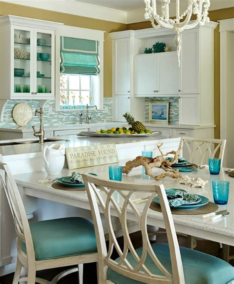 Turquoise Blue & White Beach Theme Kitchen Paradise