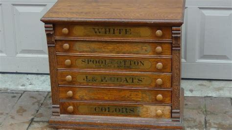 antique 1890 j p coats oak with alder and poplar 6 drawers spool cabinet ebay