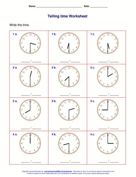 Telling Time Worksheets For 1st Grade