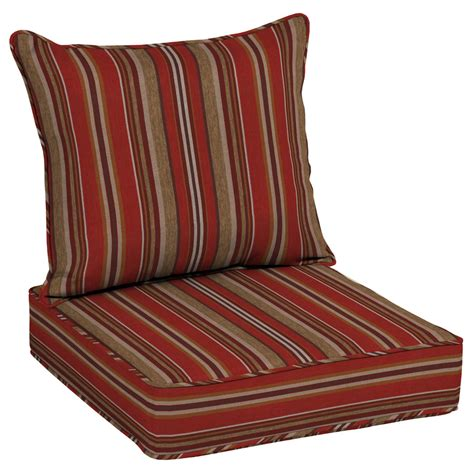 shop allen roth priscilla stripe collection stripe seat patio chair cushion for