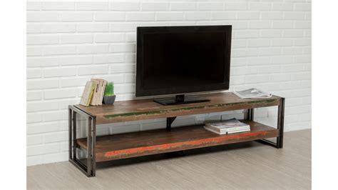 Meuble Tv Double Plateau Teck Recyclé 160 Cm Loft