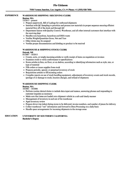 Warehouse Shipping Clerk Resume Samples  Velvet Jobs