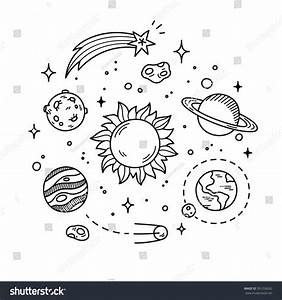 Hand Drawn Solar System With Sun, Planets, Asteroids And ...