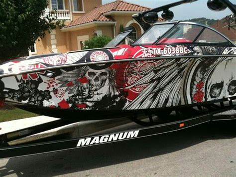 Red Boat Vinyl Wrap by Busy Red White Black Boat Wrap Boat Wraps Pinterest