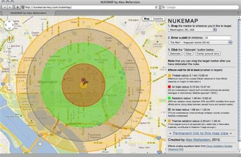 nukemap nuclear effects calculator that shows you the heat pressure and fallout spread of a