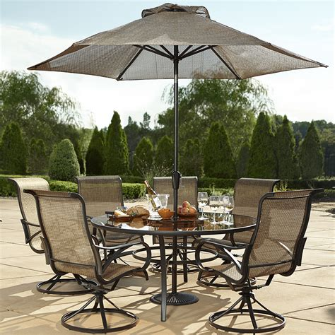 grand resort xss 1563 7pc oak hill 60 quot 7 sling dining set limited availability