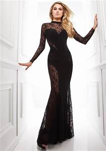 Amazing Mermaid High Neck Black Chiffon Lace Long Special ...