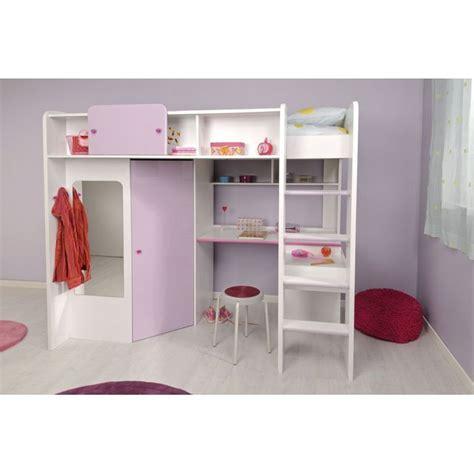 demoiselle lit mezzanine 90 x 200 cm bureau 233 tag 232 res armoire bois blanc et laqu 233 violet