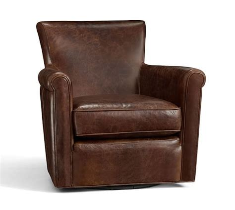irving leather swivel armchair 1 950 87 pottery barn 32 quot w x 35 5 quot d x 32 5 quot h home