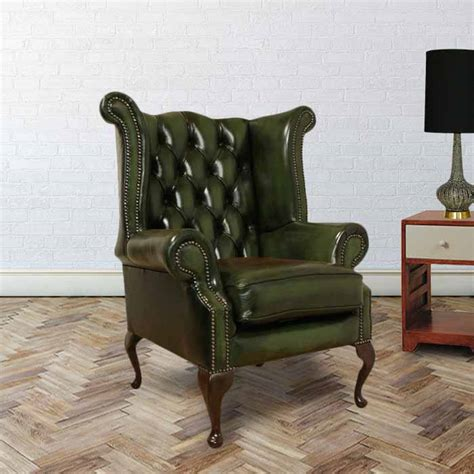 Back Chair Uk by Green Chesterfield Wing Chair Designersofas4u
