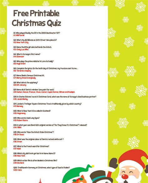 Free Printable Christmas Quiz  Party Delights Blog