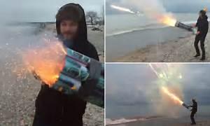 Video shows man on a Milwaukee beach firing a 'roman ...