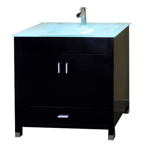 shop bellaterra home black integrated single sink bathroom vanity with tempered glass and glass