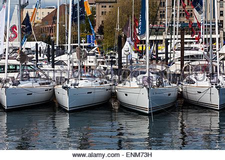 Victoria Floating Boat Show by Sailing Yachts At Boat Show In Exhibition Hall Stock Photo