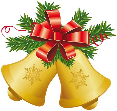Transparent Christmas Yellow Bells With Red Bow Png