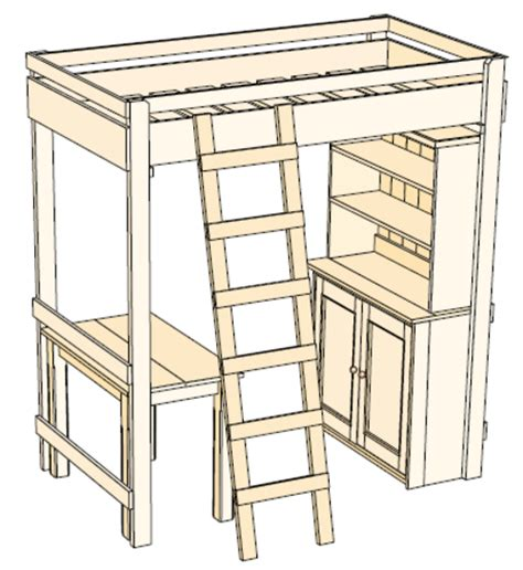 Loft Bed Woodworking Plans plans for loft bed with desk free woodworking projects