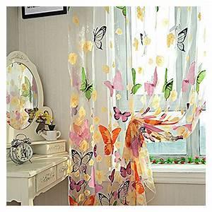Kinderzimmer Gardinen Schmetterling : farbige schmetterling gardine transparent vorhang zimmer deko 200 x 100cm gy ebay ~ Markanthonyermac.com Haus und Dekorationen