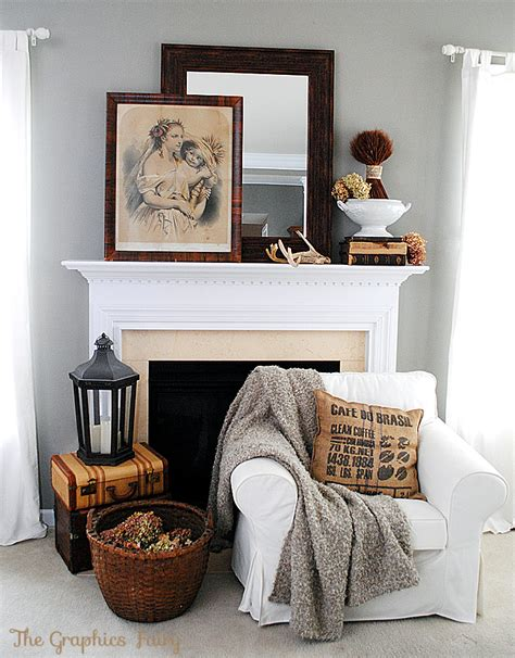 Fall Mantel Ideas  Our Vintage Mantel  The Graphics Fairy
