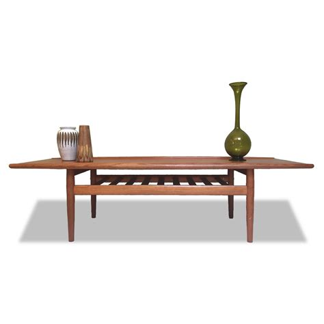 Teak Coffee Table by Grete Jalk: Original Vintage 1960s Danish Mid Century Modern Wood Furniture