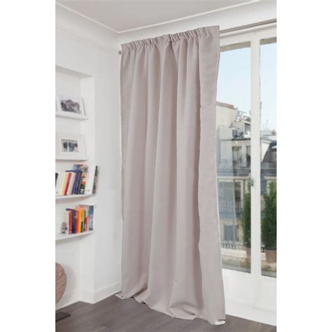 rideau occultant phonique galon fronceur gris clair l 145 x h 260 cm leroy merlin