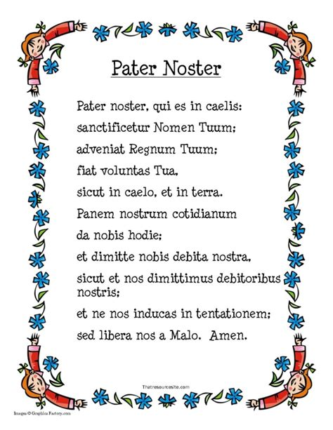 pater noster prayer sheet that resource site