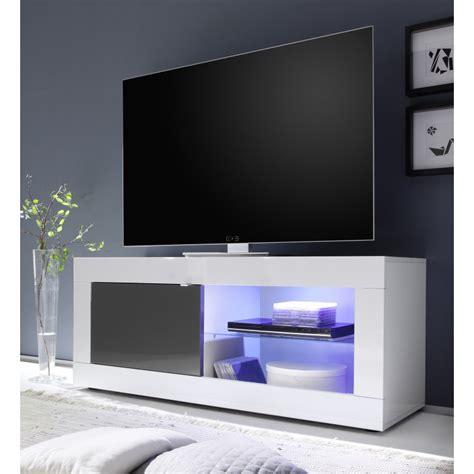 meuble t 233 l 233 bas laqu 233 gris et blanc avec 233 clairage led