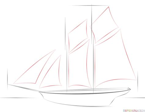 How To Draw A Old Boat by Drawn Sailing Boat Line Drawing Pencil And In Color