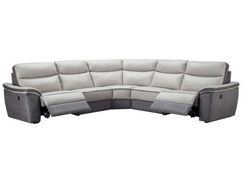 canap 233 d angle relaxation 233 lectrique 5 places en cuir trevise coloris gris anthracite vente de