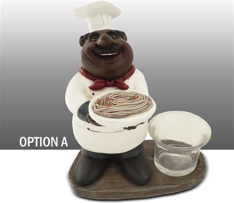 black chef kitchen figure votive candle holder table