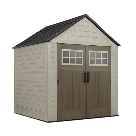 rubbermaid big max 7 ft x 7 ft storage shed browns tans