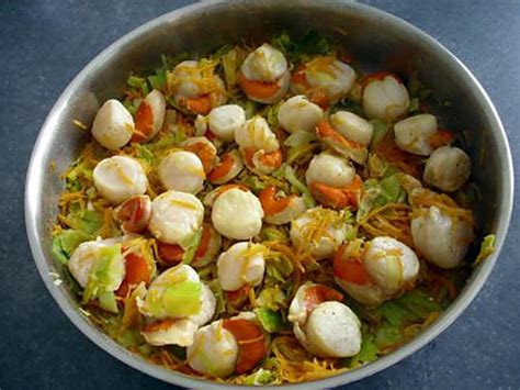 recette de julienne de legumes et noix de jacques