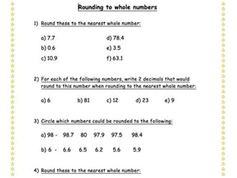 Rounding To Nearest Whole Number Worksheet By Meganelizabethpalmer  Teaching Resources Tes