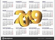 calendario 2019 en Español horizontal — Vector de stock