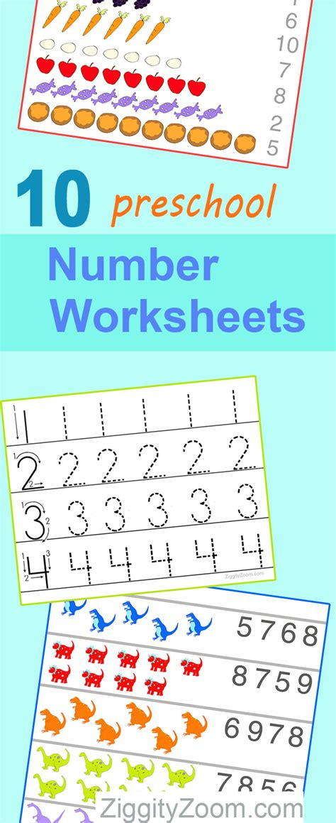 10 Preschool Math Worksheets Number Recognition, Flashcards, Tracing