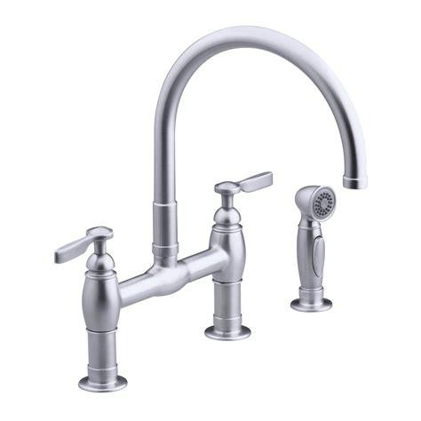 kohler parq 2 handle bridge kitchen faucet in vibrant stainless k 6131 4 vs the home depot