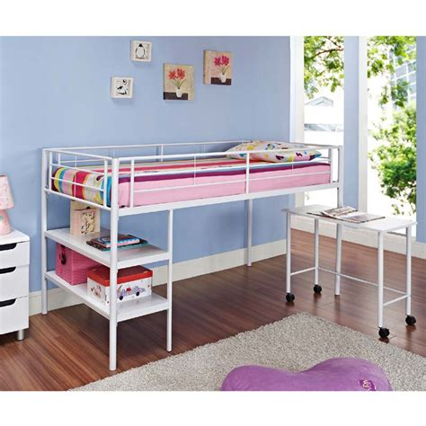 walker edison metal low loft bed with desk and