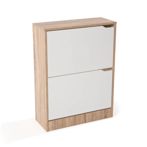 meuble 224 chaussures mdf coloris ch 234 ne blanc avec porte abattante frame 2 portes