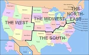 Süd Ost West Nord : us karte nord s d ost west regionalen karte usa ~ Markanthonyermac.com Haus und Dekorationen
